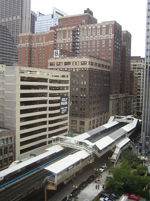Photo of a Chicago Blue Line station.