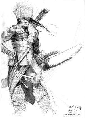 Concept art of Malinka Khazak, Mongol horsewoman.