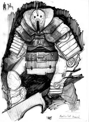Concept art of the general of the mountain fort.