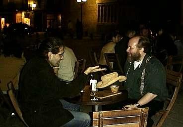 Wine and conversation with my host, the irrepressible Daniel Sanchez Crespo-Dalmau.
